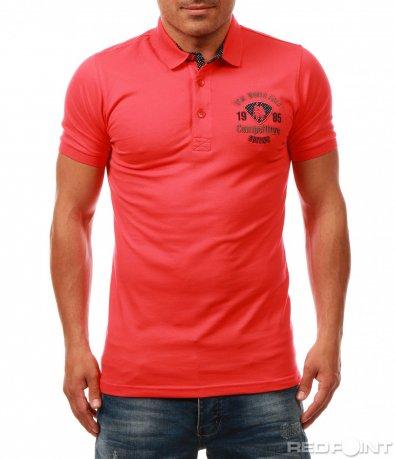 Лятна тениска с яка и емблема 7999