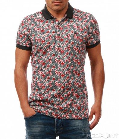 Поло тениска с флорален принт 8004