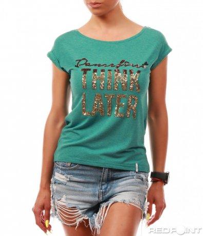 Зелена тениска с надпис от пайети 8011