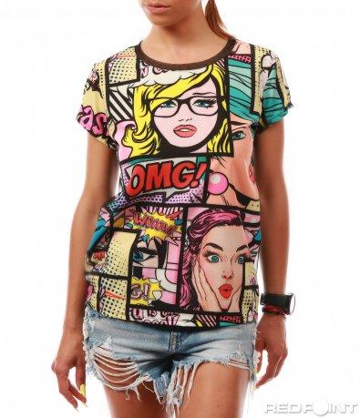 Цветна тениска с комикси 8023