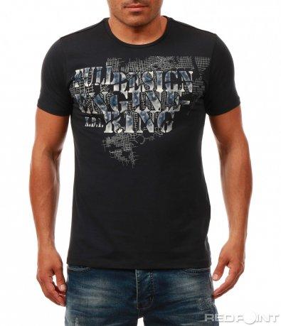 Семпла тениска с надписи 8033