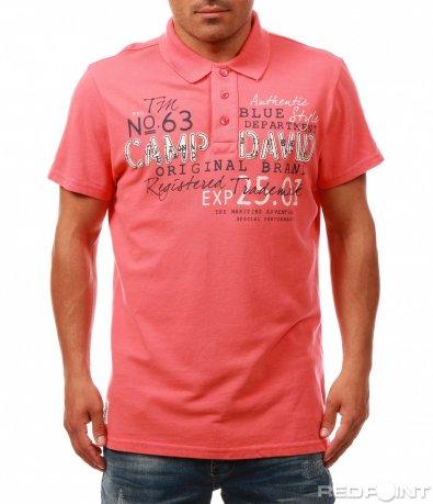 Свежа тениска с яка и надписи 8034