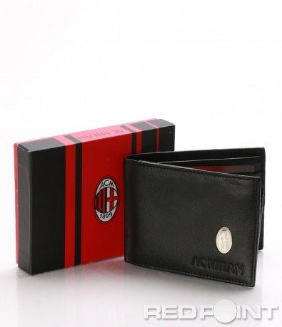 Черен кожен портфейл с лого 8044