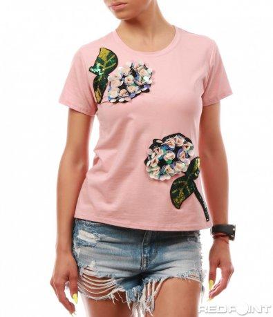 Розова тениска с релефни орнаменти 8030