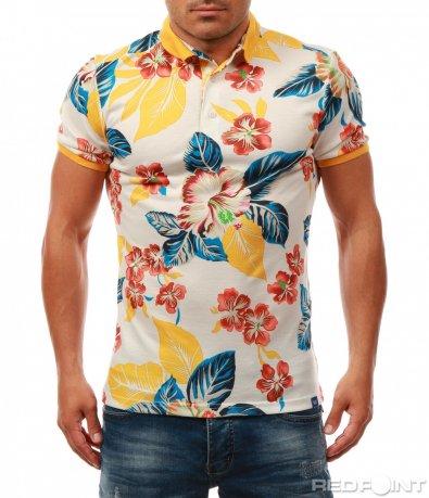 Цветна мъжка тениска с яка 8066