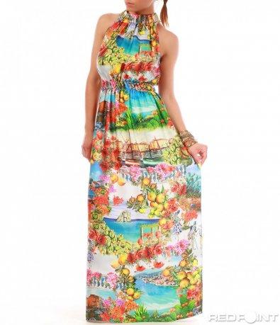 Дълга цветна рокля 8018