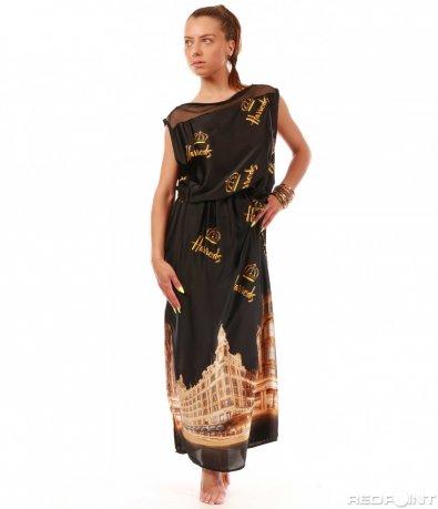 Черна дълга рокля 8019