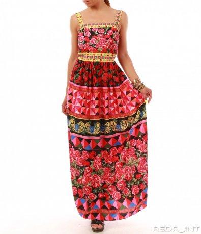 Дълга лятна рокля с презрамки 8028