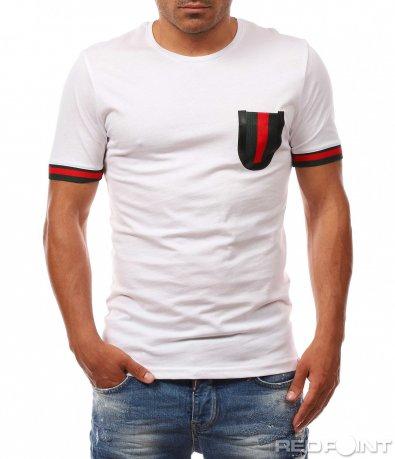 Класическа тениска с цветен джоб 8075