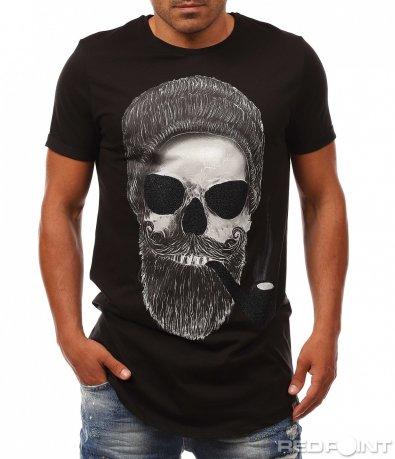 Издължена тениска с апликация 8076