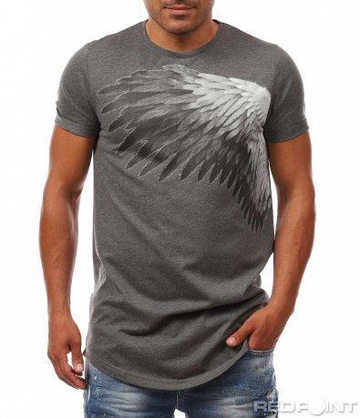 Семпла тениска с апликация 8077