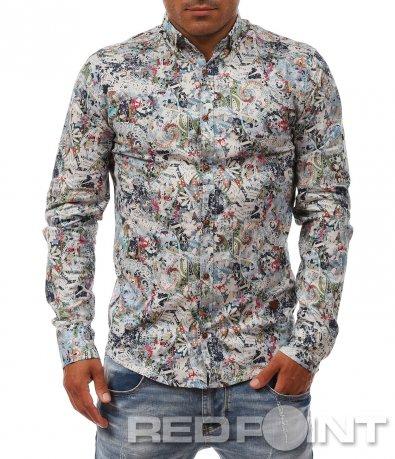 Вталена риза с летен дизайн 8079