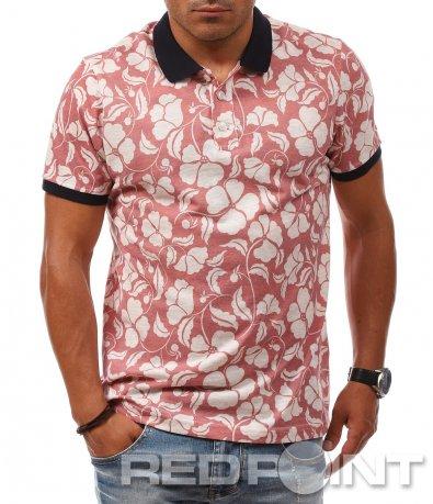 Розова тениска с яка 8086