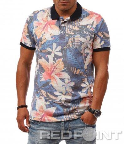 Син polo shirt  с цветя 8089