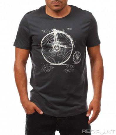 Тъмно сива тениска с интересен принт 8096