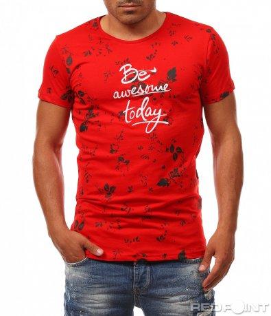 Червена вталена тениска 8100
