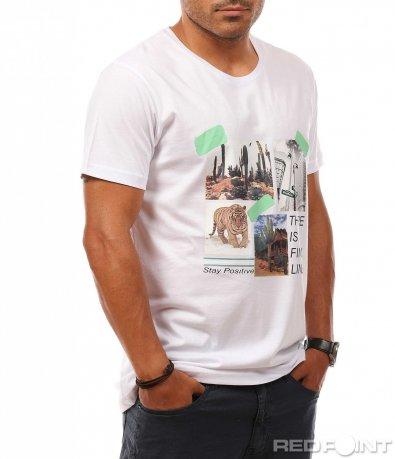 Памучна тениска с щампа 8101