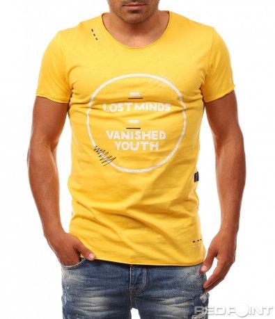 Жълта фанелка с щампа 8105