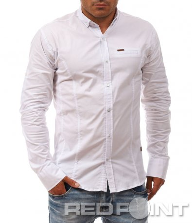 Класическа риза в еднотонен десен 8106