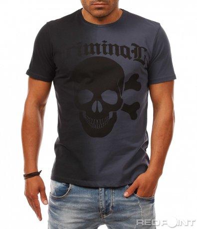 Двуцветна тениска с щампа 7956