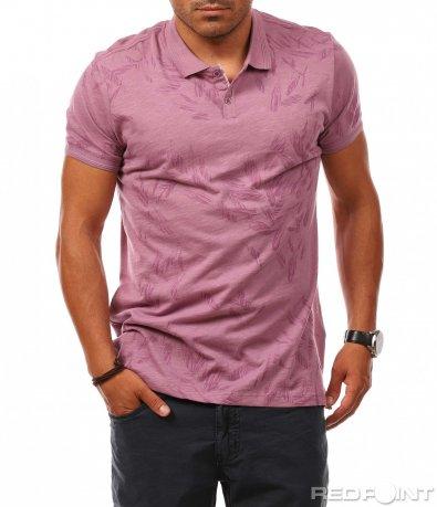 Розова тениска с яка 8114