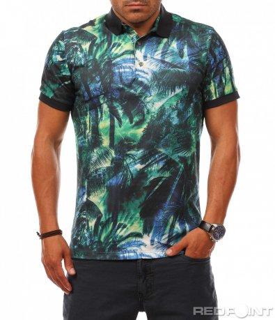 Цветна тениска с яка 8121