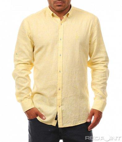 Еднотонна ленена риза 8120