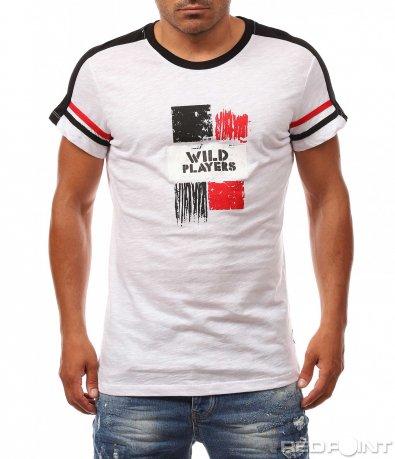 Черно-бяла памучна тениска 8133