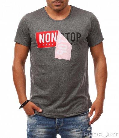 Тениска с ефектен надпис 8137