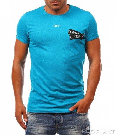 Ефектна тениска с черни орнаменти 8134