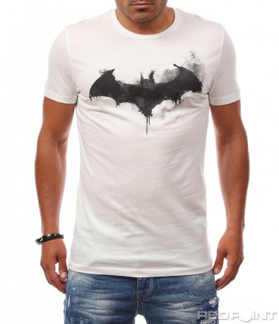 Светла тениска с щампа прилеп 8145