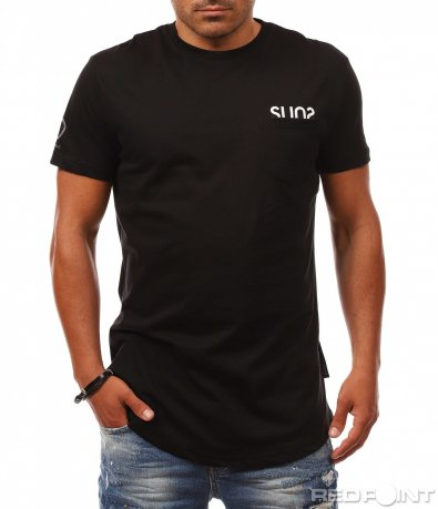 Издължена тениска с джоб 8149