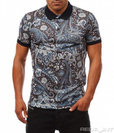 Ефектна поло тениска с орнаменти 8150