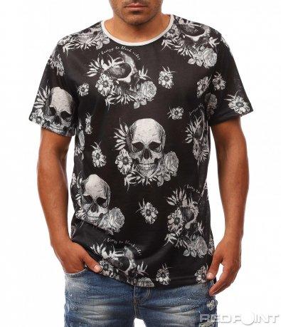 Ефектна тениска с черепи 8151