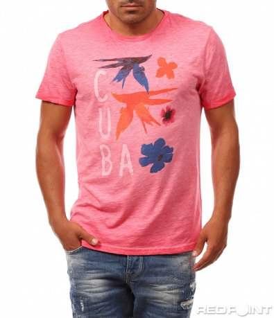 Розова тениска с лятна декорация 8154