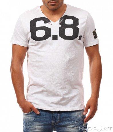 Бяла тениска с бод деколте 8155