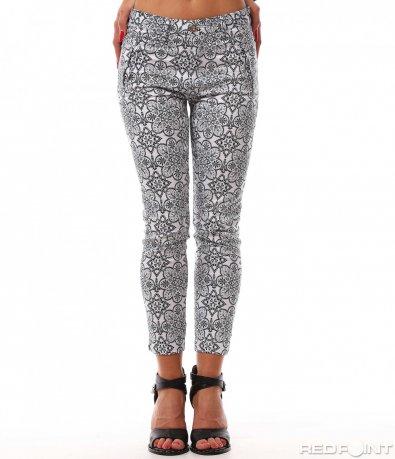 Бял стилен панталон  8178