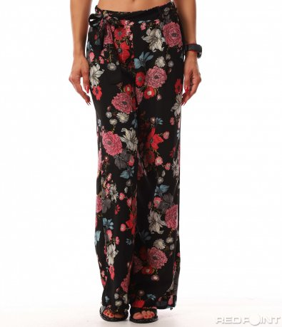 Черен панталон на цветя 8177